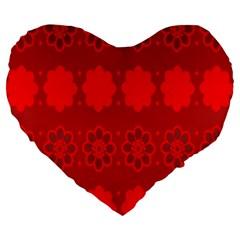 Red Flowers Velvet Flower Pattern Large 19  Premium Heart Shape Cushions
