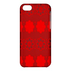 Red Flowers Velvet Flower Pattern Apple Iphone 5c Hardshell Case