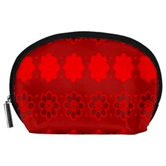 Red Flowers Velvet Flower Pattern Accessory Pouches (Large)