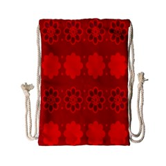 Red Flowers Velvet Flower Pattern Drawstring Bag (small)