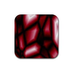 Red Abstract Background Rubber Coaster (square)