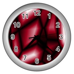 Red Abstract Background Wall Clocks (silver)