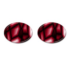Red Abstract Background Cufflinks (oval)
