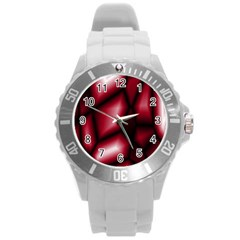 Red Abstract Background Round Plastic Sport Watch (l)