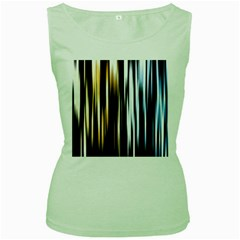 Digitally Created Striped Abstract Background Texture Women s Green Tank Top