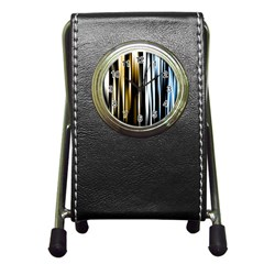 Digitally Created Striped Abstract Background Texture Pen Holder Desk Clocks