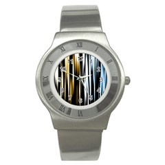 Digitally Created Striped Abstract Background Texture Stainless Steel Watch