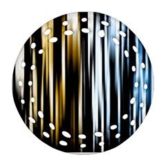 Digitally Created Striped Abstract Background Texture Round Filigree Ornament (Two Sides)