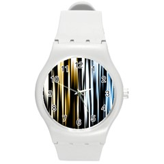 Digitally Created Striped Abstract Background Texture Round Plastic Sport Watch (m)