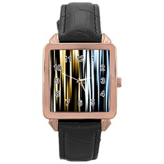 Digitally Created Striped Abstract Background Texture Rose Gold Leather Watch