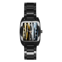 Digitally Created Striped Abstract Background Texture Stainless Steel Barrel Watch