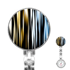 Digitally Created Striped Abstract Background Texture Stainless Steel Nurses Watch