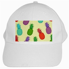 Colorful Pineapples Wallpaper Background White Cap