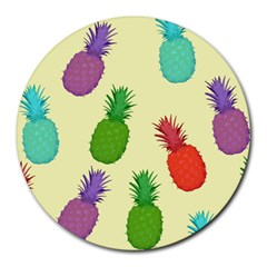 Colorful Pineapples Wallpaper Background Round Mousepads