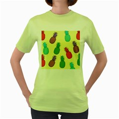 Colorful Pineapples Wallpaper Background Women s Green T Shirt