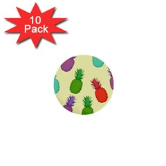 Colorful Pineapples Wallpaper Background 1  Mini Buttons (10 Pack)