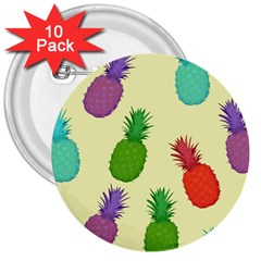 Colorful Pineapples Wallpaper Background 3  Buttons (10 Pack)