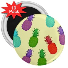 Colorful Pineapples Wallpaper Background 3  Magnets (10 Pack)