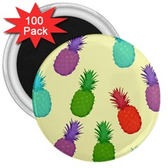 Colorful Pineapples Wallpaper Background 3  Magnets (100 Pack)