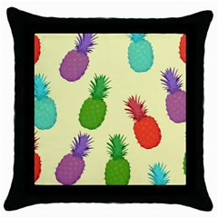 Colorful Pineapples Wallpaper Background Throw Pillow Case (black)