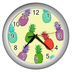 Colorful Pineapples Wallpaper Background Wall Clocks (silver)