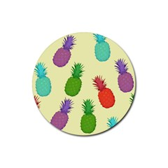 Colorful Pineapples Wallpaper Background Rubber Round Coaster (4 Pack)