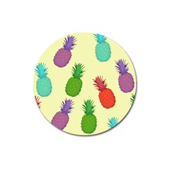 Colorful Pineapples Wallpaper Background Magnet 3  (round)