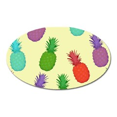 Colorful Pineapples Wallpaper Background Oval Magnet
