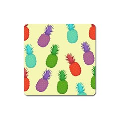 Colorful Pineapples Wallpaper Background Square Magnet