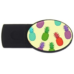 Colorful Pineapples Wallpaper Background USB Flash Drive Oval (2 GB)