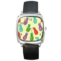 Colorful Pineapples Wallpaper Background Square Metal Watch