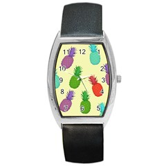 Colorful Pineapples Wallpaper Background Barrel Style Metal Watch