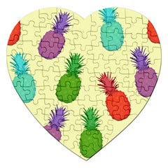 Colorful Pineapples Wallpaper Background Jigsaw Puzzle (Heart)