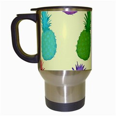 Colorful Pineapples Wallpaper Background Travel Mugs (white)