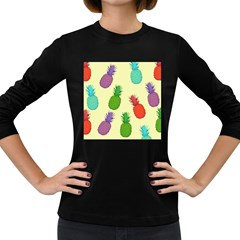 Colorful Pineapples Wallpaper Background Women s Long Sleeve Dark T Shirts