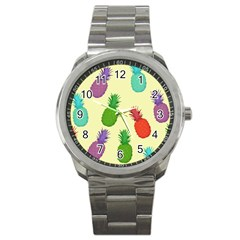 Colorful Pineapples Wallpaper Background Sport Metal Watch