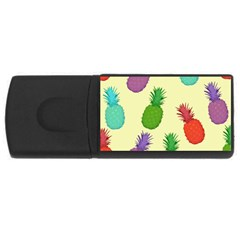 Colorful Pineapples Wallpaper Background Usb Flash Drive Rectangular (4 Gb)