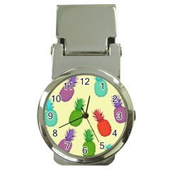 Colorful Pineapples Wallpaper Background Money Clip Watches