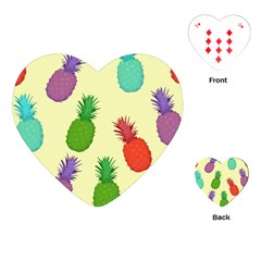 Colorful Pineapples Wallpaper Background Playing Cards (Heart)
