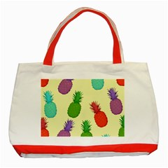 Colorful Pineapples Wallpaper Background Classic Tote Bag (red)