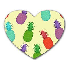 Colorful Pineapples Wallpaper Background Heart Mousepads