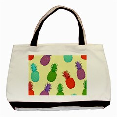 Colorful Pineapples Wallpaper Background Basic Tote Bag (two Sides)