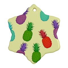 Colorful Pineapples Wallpaper Background Snowflake Ornament (two Sides)