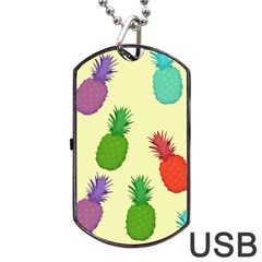 Colorful Pineapples Wallpaper Background Dog Tag USB Flash (Two Sides)