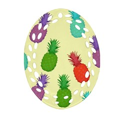Colorful Pineapples Wallpaper Background Ornament (Oval Filigree)