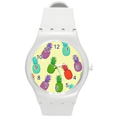 Colorful Pineapples Wallpaper Background Round Plastic Sport Watch (M)