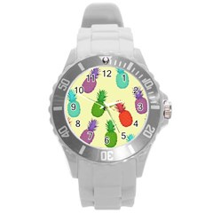 Colorful Pineapples Wallpaper Background Round Plastic Sport Watch (L)