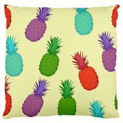 Colorful Pineapples Wallpaper Background Large Cushion Case (Two Sides)
