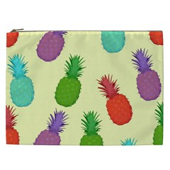 Colorful Pineapples Wallpaper Background Cosmetic Bag (XXL)