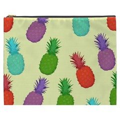 Colorful Pineapples Wallpaper Background Cosmetic Bag (XXXL)